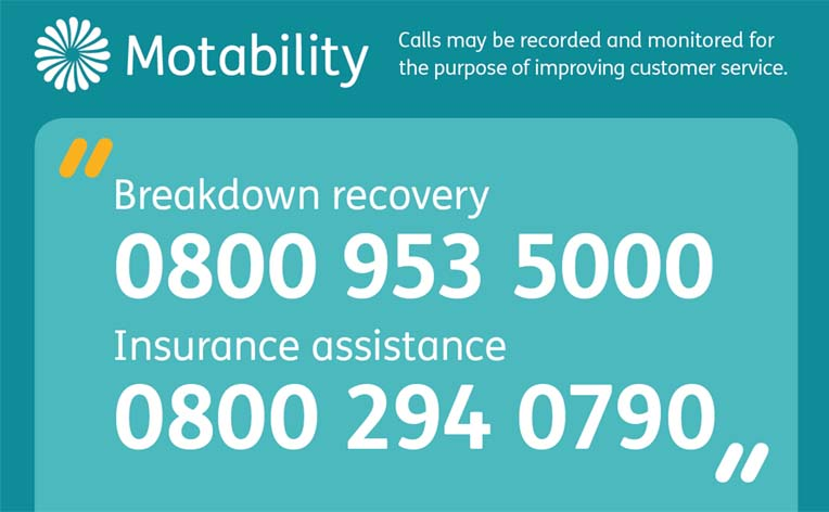 Motability Scheme emergency numbers